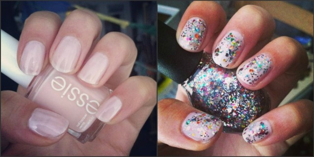 nail polish pink with rainbow sparkles